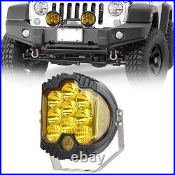2X 7INCH 90W LED Work Light Pod Offroad 4WD Truck SUV Spot Flood Driving Lamp