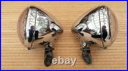 2 x Lucas MB148 Head Lamps King of the Road Owls Eye Spot Lights with mounts
