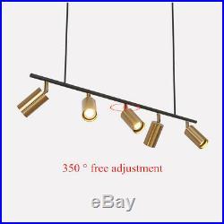 5-Light Track Light Linear Chandelier Gold Stage Spotlight Ceiling Pendant Lamp