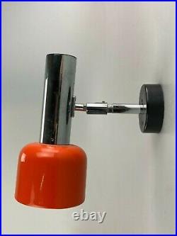 60er 70er Jahre Wandleuchte Wandlampe Staff Spotlight Metall Orange Chrome 60s