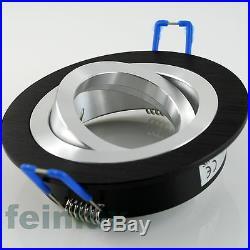 7er Set 230V LED ALU Deckenspots Einbaustrahler Einbauleuchten Downlight Schwarz