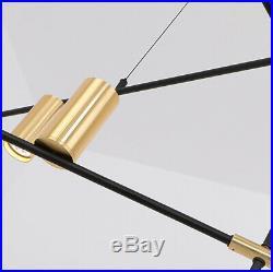 9 Lights Vintage Metal Linear LED Ceiling Lamp Gold Spotlight Adjustable Fixture