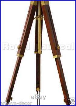 Antique Finish Spotlight Tripod Nautical Teak Wooden Floor Lamp Vintage Decor