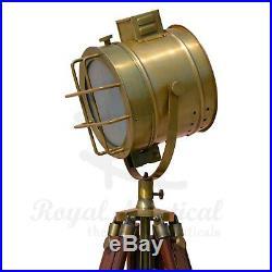 Antique Look Theatre Spot Light Solid Wooden Tripod Floor Lamp LED Vintage Retro
