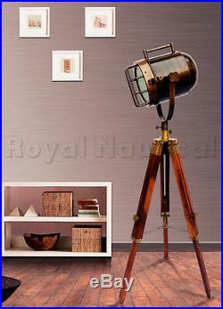Antique Vintage Looks Wooden Tripod SpotLight Floor Lamp Nautical Home Decor