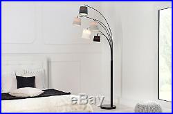 Bogenlampe Stehlampe weiß schwarz grau Marmor 200cm Design Spot Lampe ALICANTE