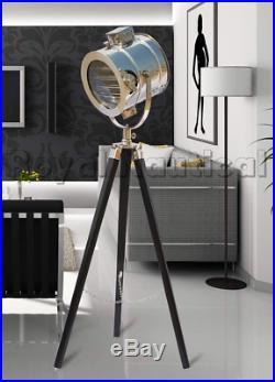 Chrome Finish Designer Black Spot Search Light Home Decor Tripod Floor LED Lamp