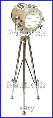 Chrome Nautical Floor Lamp Handmade Home/Studio Tripod Stand Spot Searchlight