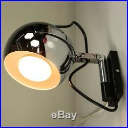 Chromkugel Wand Leuchte Spot Strahler Lampe Vintage Wall Lamp 70er Jahre