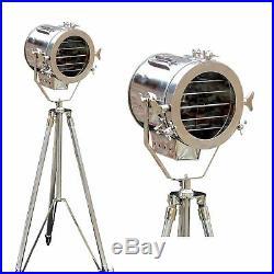 Classic Theatre Retro Chic Industrial Tripod + Searchlight Style Nautical Lamp