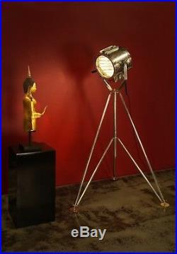 Designer Theater Scheinwerfer 205 cm Stativ Stehlampe Hollywood antik Lampe Spot