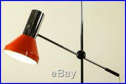Gelenkarm Steh Leuchte Spot Strahler Boden Lampe Orange Chrom Vintage 70er Jahre