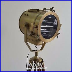 Hollywood Antique Nautical Spotlight Floor Lamp Brown Tripod Stand Collectible