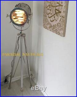 Hollywood Studio Cinema Spot Light Searchlight Tripod Floor Lamp Nautical Decor