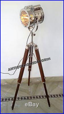 Hollywood Vintage Marine Nautical Chrome Big Spotlight Floor Lamp Wooden Tripod
