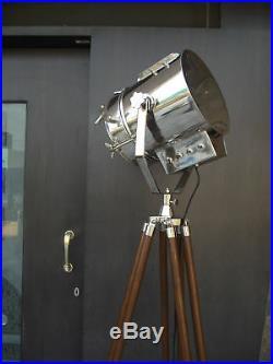 Hollywood Vintage Marine Nautical Industrial Spotlight Floor Lamp Tripod Stand