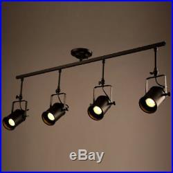Industrial Loft Black Monorail Spot Lights LED Semi Flush Mount Chandelier Lamp