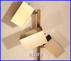 KOCH & LOWY BRASS FLOOR LAMP MID-CENTURY MODERN CUBIST SPACE AGE SPOTLIGHT 1960s