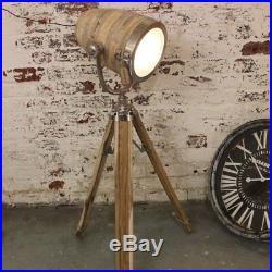 Kapadia Floor Spot Lamp Vintage Aluminium Natural Wood Tripod Mango Wood Stand