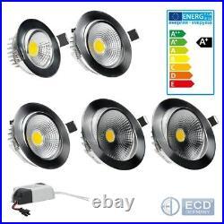 LED COB Spot Einbaustrahler Deckenlampe Einbauspot Lampe Silber 3With5With7With9With12W