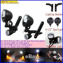 LED Spotlight Turn Signal Passing Fog Light Lamp For Harley Touring Street Glide