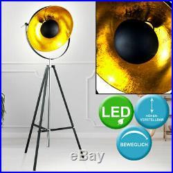 LED Stativ Steh Lampe schwarz gold Wohn Zimmer Spot Leuchte Höhe verstellbar