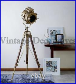 Large Vintage Theater Stage Nautical Spotlight Industrial Tripod Floor Lamp Gift