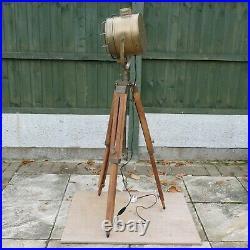 Marine Vintage Brown Shaded Nautical Spot Search Light Tripod Floor Lamp