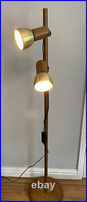 Mid Century Spot Light Floor Lamp Oak & Brushed Brass