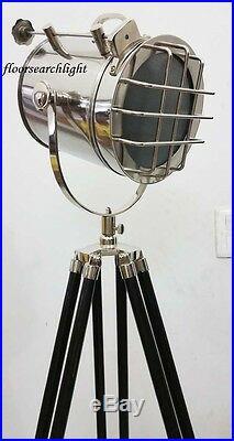Modern Designer Nautical Spot Light Studio Black Tripod Floor Searchlight Lamp