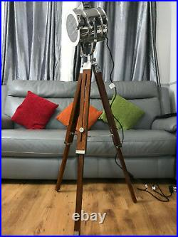 NEW Nautical Brown Spot Light Wooden Tripod Floor Lamp LED Light Home Decor UK