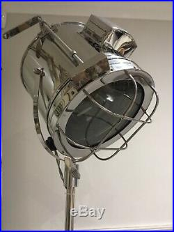 Nautical Chrome Vintage style Spotlight Searchlight Tripod Floor lamp
