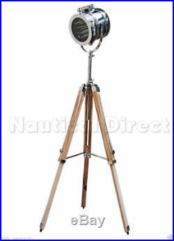 Nautical Collectable Chrome Spot Light Searchlight Studio Tripod Floor Lamps