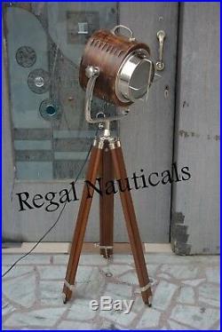 Nautical Collectible Wood Spot Light Searchlight Studio Tripod Floor Lamp