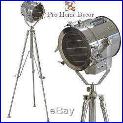 Nautical Floor Lamp HANDMADE Home Studio Tripod Stand Spot SEARCHLIGHT Chrome