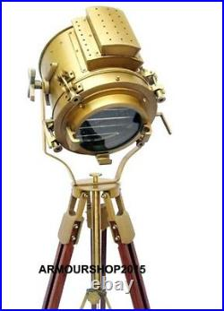 Nautical Hollywood Searchlight Floor Lamp Antique Spotlight Wooden Tripod