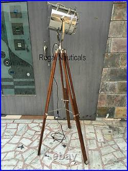Nautical Marine Tripod Light Hollywood Lamp Wooden Brown Polish Tripod Stand