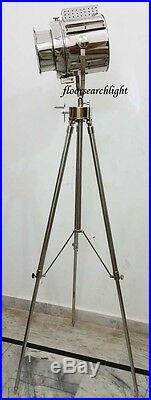 Nautical Signal Spot Light Floor Lamp Stand Revolving Metal Tripod Searchlight