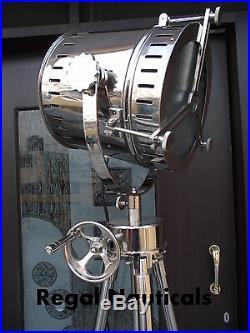 Nautical Spot Light Floor Lamp Wooden Tripod Lighting Search Light