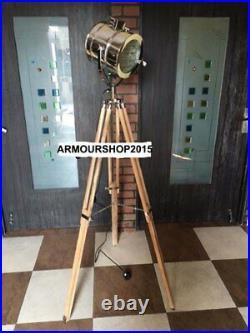 Nautical Spot Studio Light Teak Tripod Floor Lamp Search light Marine Floor Lamp