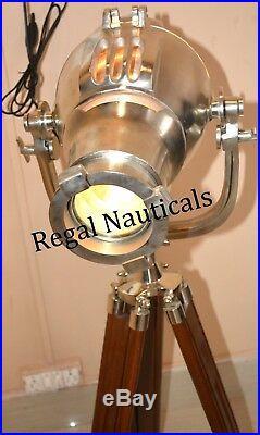 Nautical Wooden Polish Tripod Floor Light Living Room Searchlight
