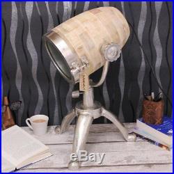 Pandim Spot Lamp Table Vintage Aluminium Natural Wood Tripod Metal Stand Light