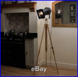 Retro Industrial Floor Lamp, Long Black Theatre Stage Spotlight & Wooden Tripod