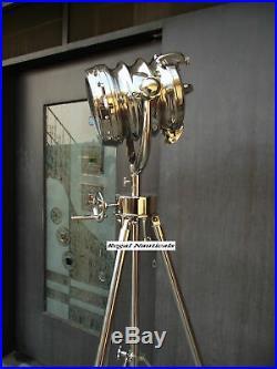 Revolving Search Light Spotlight Floor Lamp Revolving Tripod Full Chrome Finish