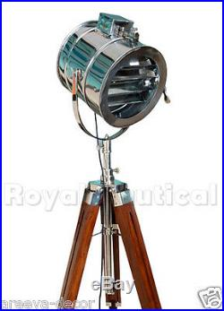 Royal Nautical Spotlight Searchlight Wooden Tripod Floor Lighting Lamp