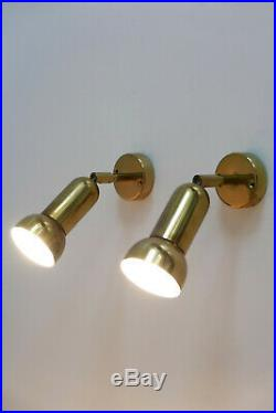 SET of TWO Mid Century BRASS WALL LAMPS Sconces SPOT LIGHTS by GEBÜRDER COSACK