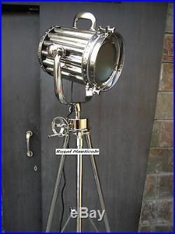 Solid Chrome Floor Spotlight With Revolving Tripod In Chrome Finish Searchlight