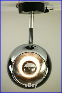 Staff Wand Decken Lampe Strahler Spot Chrom Kugel Leuchte 7701 Vintage 70er