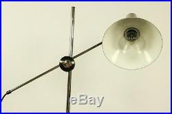 Steh Leuchte Strahler Spot Gelenkarm Boden Lampe Chrom & Schwarz 60er 70er VTG