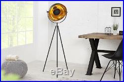 Stehlampe Stehleuchte CINEMA 140cm schwarz / gold Retro Design Lampe Spotlampe